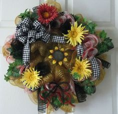 Spring/Summer Deco Mesh Wreath with fun and by PJCreativeWreaths, $65.00