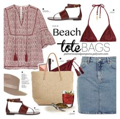 """""""In the Bag: Beach Totes"""" by palmtreesandpompoms ❤ liked on Polyvore featuring Topshop, Talitha, Bare Escentuals, Clinique, ále by Alessandra, Target, Michael Kors, Luigi Bormioli, topshop and netaporter"""