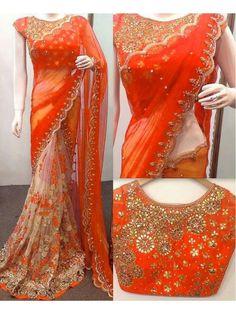 Pakiza Designer - Attractive Orange Georgette Designer saree