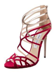 24b67a5668 Jimmy Choo. Velvet Caged Sandals. Crimson and gold.  therealreal   preowndesignershoes