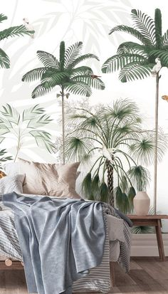 Do you have a small bedroom that you're looking to transform? Check out this tropical wallpaper design by Kikki Belle. Featuring beautiful palm print, this wallpaper design is a HOT INTERIOR TREND for 2021. With its white spacing, this beautiful wallpaper design is perfect for those smaller bedrooms lacking space. Discover the range at Wallsauce! Girls Bedroom, Bedroom Ideas, Tropical Wallpaper, Nursery Wallpaper, Beautiful Wallpaper, Palm Print, Wooden Decor, Beautiful Bedrooms, Designer Wallpaper