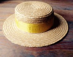 French VTG straw boater hat CANOTIER mens womens 4d9a67fa7e4b