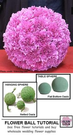 Video for creating beautiful flower balls. Use flat bottomed spheres for table decor and Netted Spheres for hanging decorations.