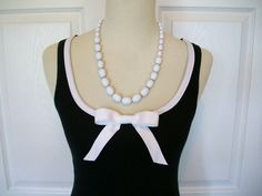 Embellished Tank Top in Black with White Ribbon by RaspberryMarket, $32.00