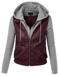SALE PRICE $12.99 - LE3NO Womens Faux Leather Zip Up Moto Biker Jacket With Hoodie