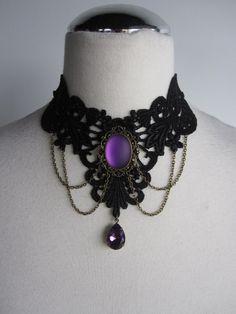 LAST ONE Choker Necklace Lace Purple Victorian Bohemian Gothic Burlesque