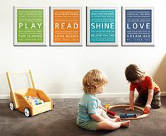 Got these for the library wall of her nursery and even with cheap wal-mart frames they look fantastic. wall art, kid playroom, kids wall, art prints, kid rooms, playroom art, art kids, typography art, inspiration quotes