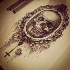 #drawing #skull #mirror