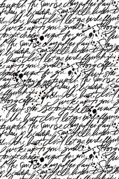 Writing Scribbles by elizabethatlas - Black and white hand painted script on fabric, wallpaper, and gift wrap.  Beautiful black and white text design with ink spots.