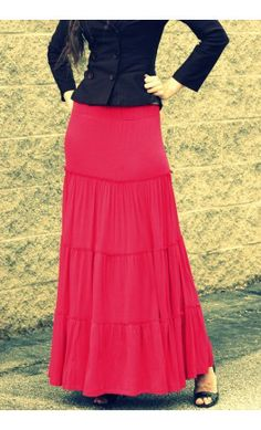 love the comfy and colorful tiered skirt
