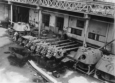KwK 42 guns awaiting installation in Panther G turrets. Photo taken post war at Maschinenfabrik Niedersachsen Hannover (MNH) GMBH, Linden, Hannover, which was in the British military zone and completed a number of Panthers and JagdPanthers under REME supervision.
