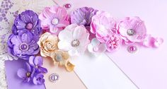 Scrapbooking, handmade cards and papercrafts by Lady E. E Flowers, Fabric Flowers, Paper Flowers, Paper Crafts, Diy Crafts, E Design, Embellishments, Floral Wreath, Gift Wrapping