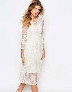 Navy+London+Placement+Lace+Midi+Dress