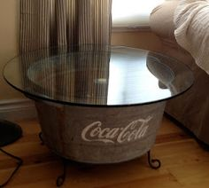 A tub plus patio table glass = cool side table! By Muddaritaville