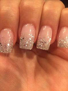 Nails Shellac Ombre Sparkle Ideas For 2019 wedding nails Glitter Tip Nails, Cute Acrylic Nails, Cute Nails, Silver Sparkle Nails, Glitter Wedding Nails, Glitter French Manicure, Sparkle Wedding, Faded Nails, French Tip Nails