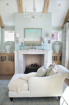Seating area in the bedroom. Beautiful and Coastal!