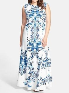 ELIZA-J-PRINT-CREPE-DE-CHINE-MERMAID-GOWN-SZ-18W-BLUE-NEW-198
