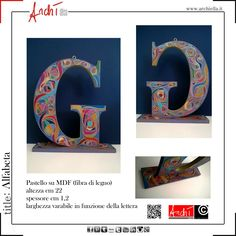 Personalized letters from a unique design in pastel on MDF (wood fiber) dimensions: height 22 cm thickness 1.2 cm variable width in relation to the letter to be placed or suspended, fitted with wooden leg and eye bolt removable top Italian-English translation by google  Ruban for Gaetano