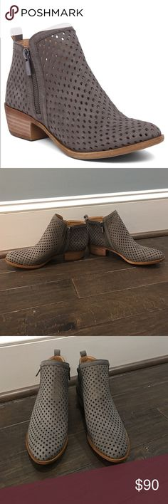 Lucky Brand Booties. Never Worn. Lucky Brand Gray Perforated Booties. Size 7. Never Worn. Very Comfortable. Double Side Zip. Lucky Brand Shoes