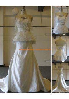 Schlicht Bodenlang Unique Brautkleider 2013 aus Satin mit Feder