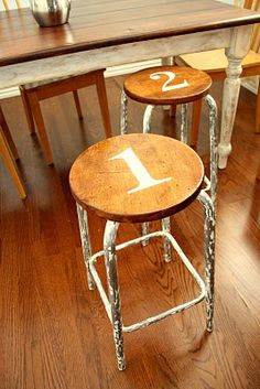 Refurbished bar stools love the numbers and finish !