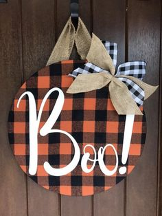 Your place to buy and sell all things handmade : Halloween Door Hanger Boo Halloween Decor Fall Plaid Decor Halloween Front Doors, Halloween Door Hangers, Halloween Door Decorations, Fall Door Hangers, Wooden Door Hangers, Boo Halloween, Halloween Crafts, Plaid Decor, Wood Wreath