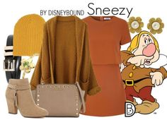 Leslie Kay of DisneyBound channels Sneezy from Snow White and the Seven Dwarfs with this autumn-toned outfit set.