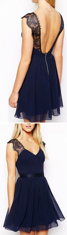 Navy Blue Party Dress - I love the open back and the lace sleeves