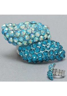 Twist Turquoise Cocktail Ring at PromDressShop.com