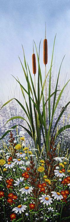 Cattails & Dragonfly by Jordan Hicks, Acrylic on Canvas, Painting | Koyman Galleries