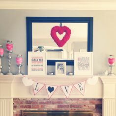 Valentine's Day Mantle Decor. Wrap candles with hearts and ribbon, Heart wreath. Printables.