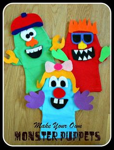 """Six Sisters' Stuff: Make Your Own MONSTER PUPPETS Printable Patterns included (puppets are like potato head, you make your own """"design"""" each time). Monster Birthday Parties, Monster Party, Diy With Kids, Crafts For Kids, Family Crafts, Make Your Own Monster, Puppet Tutorial, Felt Monster, Monster Mash"""