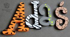 Literki imiona 3d chrzest babyshower safari - Manufaktura-Slow - Dekoracje pokoju dziecięcego