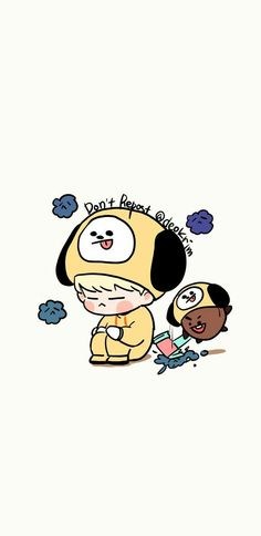 This is cute Bts Chibi, Bts Bangtan Boy, Bts Jimin, Fanart Bts, Loli Kawaii, Bts Drawings, Line Friends, Bts Fans, About Bts
