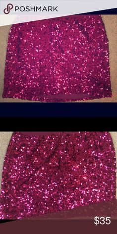Hot Pink Sequin Mini Hot pink Sequin mini size XS from VS (back when they sold real clothes!) worn once for a party. No rips, tears, or stains and all sequins in tact. Back zip. Victoria's Secret Skirts Mini