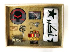 Operation Iraqi Freedom Shadow Box with Flag, Medals, Tags, etc.