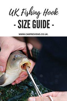 UK Fishing Hook Size Guide #carpfishing #fishingtips #fishinghooks Carp Fishing, Fishing Tips, Fishing Hook Sizes, Fish Hook