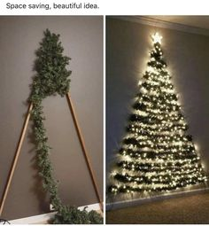 Space-saving Xmas tree decoration sends mums wild as kids can't knock it over Wall Christmas Tree, Noel Christmas, Simple Christmas, Creative Christmas Trees, Nordic Christmas, Chrismas Tree Diy, Ideas For Christmas Trees, Diy Christmas Frames, Flat Back Christmas Tree