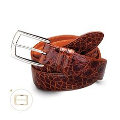 Caiman Crocodile Belt - English Tan. Don't miss out, go to natalieroller.jhilburn.com to order!