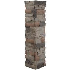 GenStone Stacked Stone in. Kenai Faux Pillar Panel Grey Base With Charcoal And Copper Highlights Stone Siding Panels, Faux Stone Siding, Stone Veneer Panels, Stacked Stone Panels, Faux Stone Panels, Porch Columns, Stone Columns, Faux Stone Veneer, Column Wrap