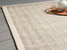 Tapis sisal bicolore chevrons avec ganse en coton MILLSTONE Crème, 160x230cm