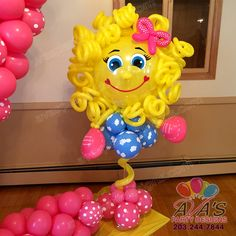 Little Miss Sunshine Balloon Column. Custom design balloon decor #PartyWithBalloons