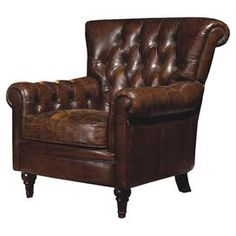 """Tufted leather arm chair with a rolled back and wood legs.  Product: ChairConstruction Material: Leather, wood and foamColor: Dark brownFeatures:  Tufted back and arms17.3"""" Seat height Dimensions: 36.2"""" H x 37.8"""" W x 37.4"""" D"""
