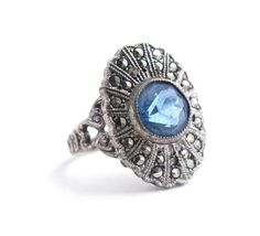 Vintage Genuine Art Deco Sterling Silver Uncas Ring - Size 4 3/4 Blue Glass Stone & Marcasite Costume Jewelry / Filigree Hearts by Maejean Vintage, $45.00