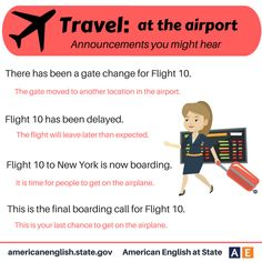 Phrases - Travel: At the Airport - Announcements you might hear