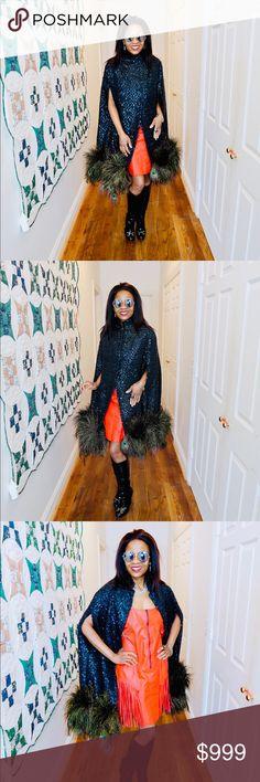 Spotted while shopping on Poshmark: Designer Midi peacock feather Sequin coat cape & Blazers Custom Jackets, Sequin Coats, Cape Coat, Black Laces, Fashion Design, Fashion Tips, Fashion Trends, Vintage Designs, Peacock