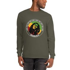 Bob Marley Love the Life You Live, Men's Quote Long Sleeve Shirt - Military Green / 2XL