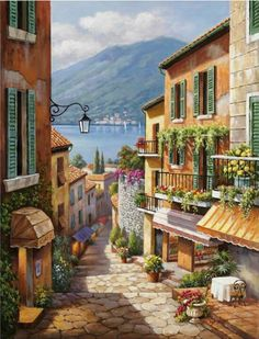 Global Gallery 'Village Steps' by Sung Kim Painting Print on Wrapped Canvas Size: Landscape Art, Landscape Paintings, Belle Image Nature, Mode Poster, Murals Your Way, Anime Scenery, Stretched Canvas Prints, Beautiful Paintings, Painting Prints