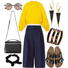 A fashion look from August 2015 featuring Delpozo sweaters, Valentino shorts and Birkenstock sandals. Browse and shop related looks.