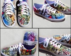 39a2055658 Battery Acid Hand Painted Vans Era Shoes by ArtOfTheSole on Etsy